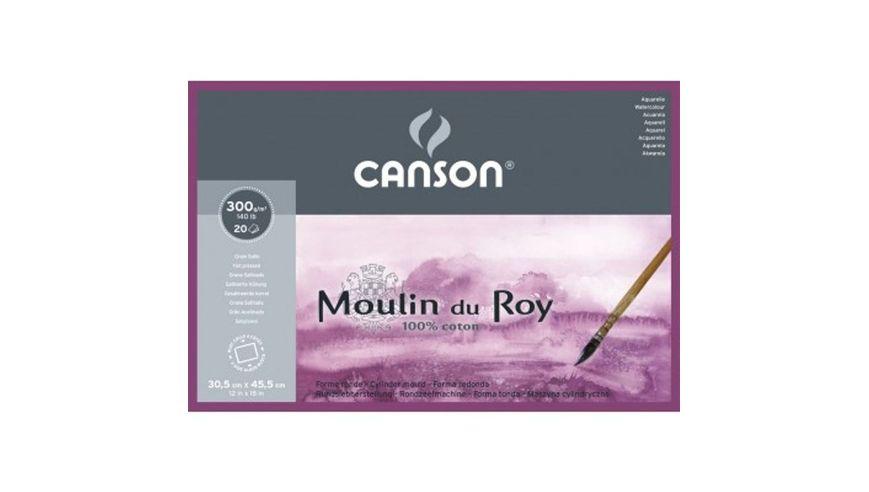 Canson Moulin du Roy 300 GSM 30.5 x 45.5 cm 4 Side Glued Pad of 20 Satin Grain Sheets