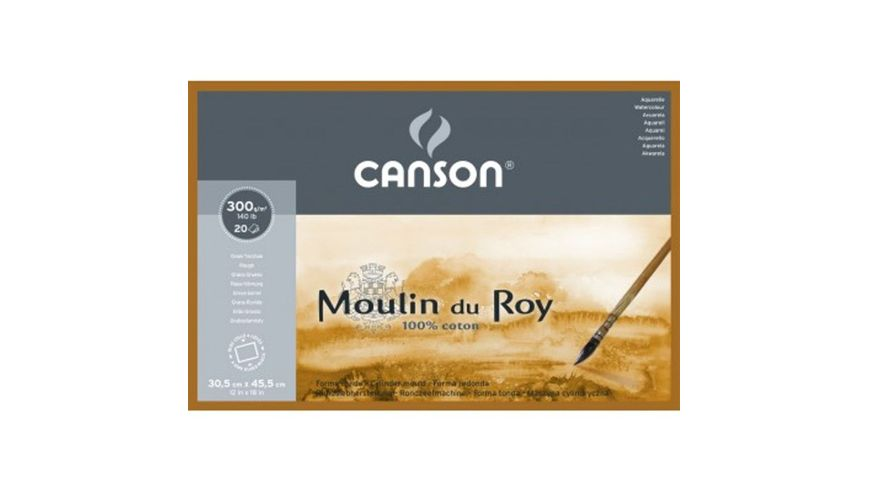 Canson Moulin du Roy 300 GSM 30.5 x 45.5 cm 4 Side Glued Pad of 20 Rough Grain Sheets