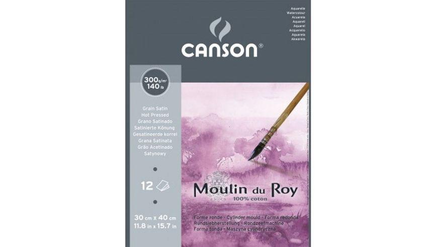 Canson Moulin du Roy 300 GSM 30 x 40.5 cm Pad of 12 Satin Grain Sheets