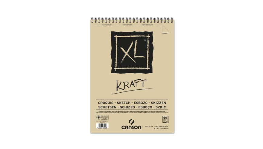 Canson XL Kraft 90 GSM A4 Album of 60 Laid Texture Sheets
