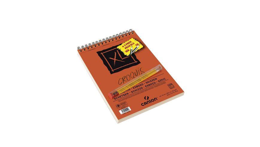 Canson XL Croquis 90 GSM A4 Album of 120 Fine Grain Sheets + 2 Free 2B Graphite Pencils