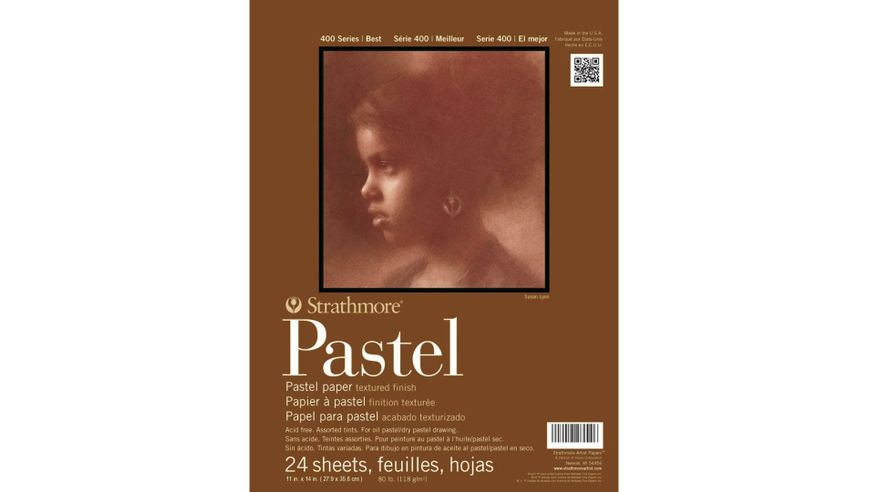 Strathmore 400 Series Pastel 11''x14'' 6 Assorted Pastel Shades Fine Grain 118 GSM Paper, Short-Side Glue Bound Pad of 24 Sheets
