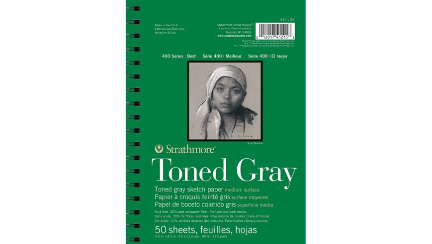 Strathmore 400 Series Toned Gray 5.5''x8.5'' Cool Grey Smooth 118 GSM Paper, Long-Side Spiral Bound Album of 50 Sheets