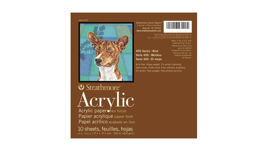 Strathmore 400 Series Acrylic 12''x12'' Cream Canvas Texture 400 GSM Paper, Short-Side Glue Bound Pad of 10 Sheets