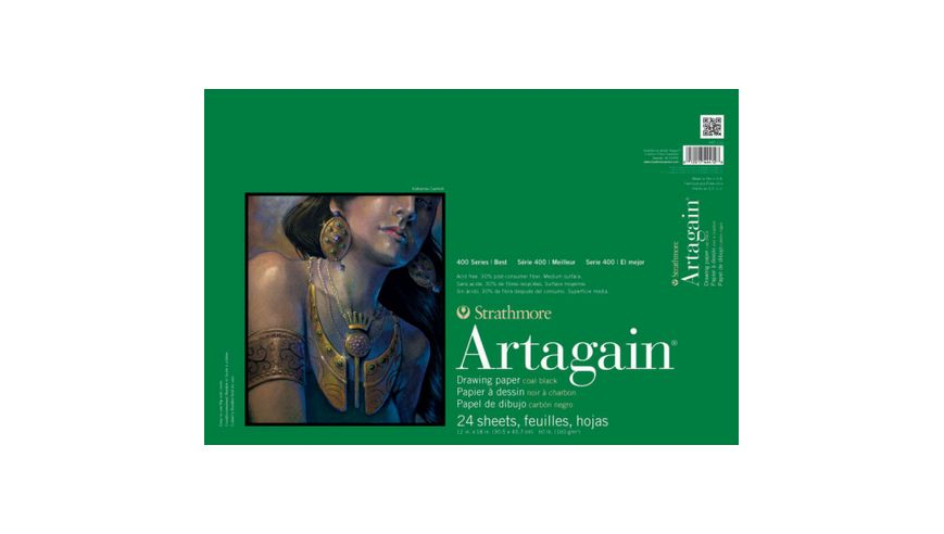 Strathmore 400 Series Artagain 12''x18'' Coal Black Light Grain 160 GSM Paper, Short-Side Glue Bound Pad of 24 Sheets