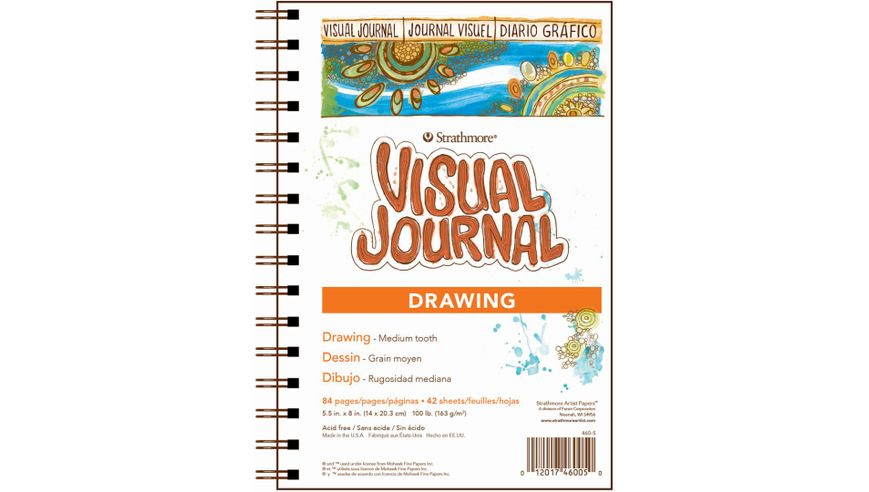 Strathmore 400 Series Visual Journal - Drawing - 5.5''x8'' - Cream - Fine Grain - 163 GSM Paper, Long-Side Spiral Bound - 84 Sheets