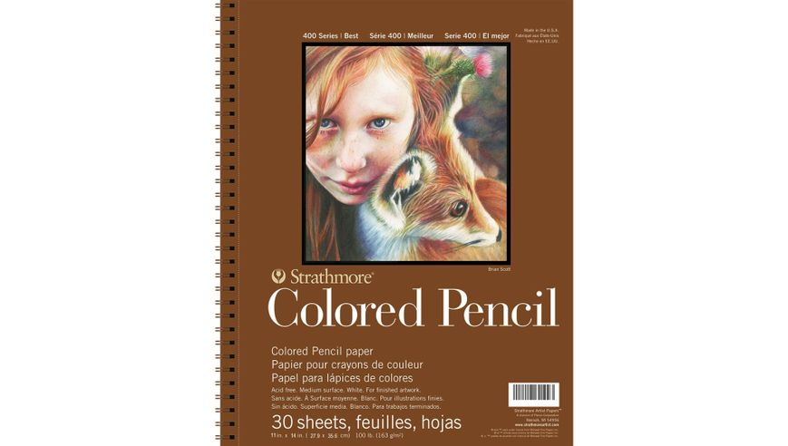 Strathmore 400 Series Colored Pencil 11''x14'' White Toothy 163 GSM Paper, Long-Side Micro-perforated Album of 30 Sheets