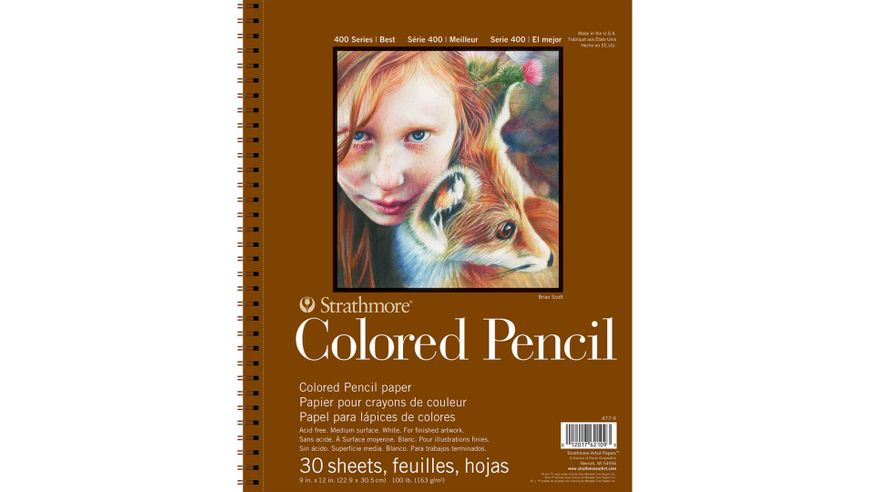 Strathmore 400 Series Colored Pencil 9''x12'' White Toothy 163 GSM Paper, Long-Side Micro-perforated Album of 30 Sheets