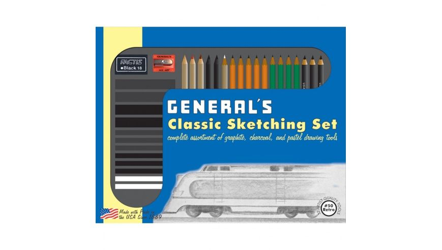 General's Classic Sketching & Drawing Set with Retro Packaging - Art Set of 32 Pieces