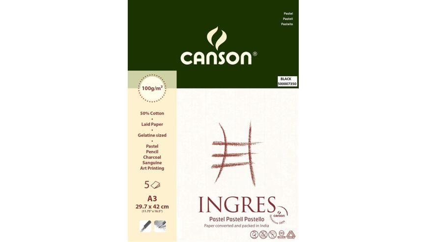 Canson Ingres Vidalon 100 GSM A3 Pack of 5 Laid Texture Sheets - Black