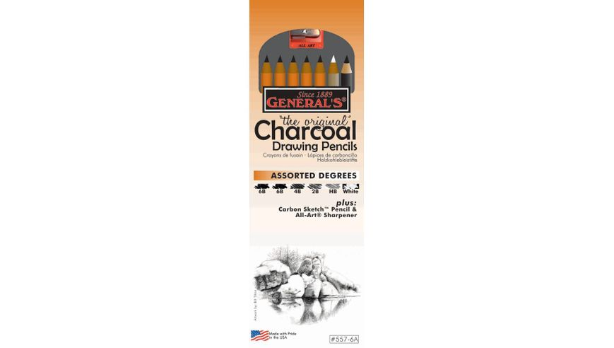 General's The Original Charcoal Drawing Pencils - Art Set of 8 Pieces