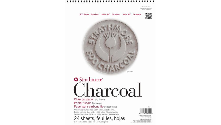 Strathmore 500 Series Charcoal 9''x12'' 8 Assorted Pastel Shades Laid 95 GSM Paper, Short-Side Spiral Bound Album of 24 Sheets