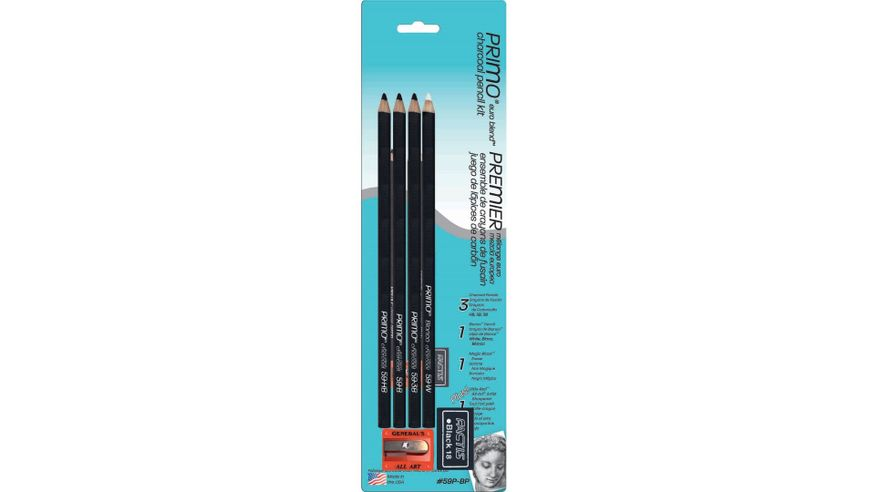 General's Primo Euro Blend Charcoal Pencil Kit - Art Set of 6 Pieces
