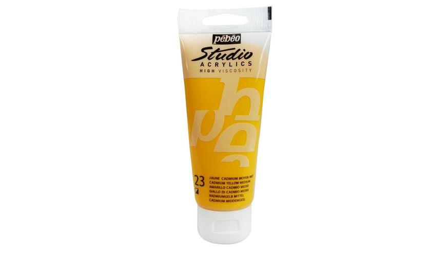 Pebeo Studio Acrylic High Viscosity 100 ml Medium Cadmium Yellow Hue 23