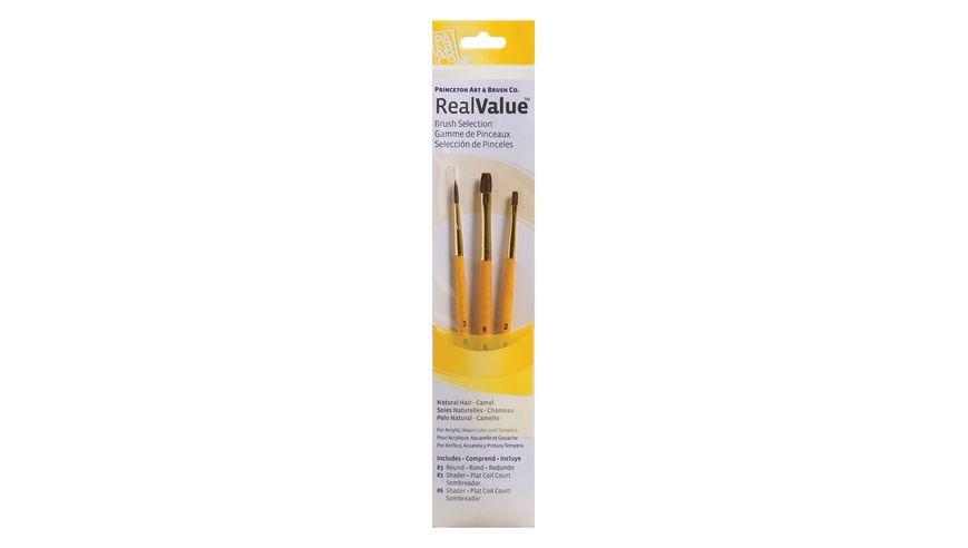 Princeton Real Value Brush Set of 3 - Natural Hair - Camel - Round 3, Shader 2 & 6 - Short handle