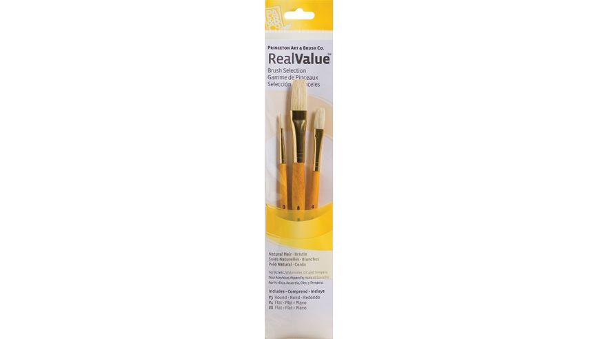 Princeton Real Value Brush Set of 3 - Natural Hair - Bristle - Round 3, Flat 4 & 8 - Short handle