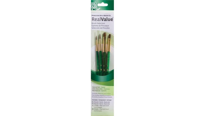 Princeton Real Value Brush Set of 4 - Natural Hair - Camel - Round 1 & 3, Shader 4 & 6 - Short handle
