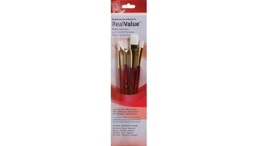 Princeton Real Value Brush Set of 4 - Synthetic Hair - White Taklon - Round 6, Fan 2, Wash 5/8, Angular 3/8 - Short handle