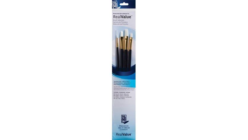 Princeton Real Value Brush Set of 4 - Synthetic Hair - White Taklon - Round 1, Bright 4, Filbert 4, Flat 6 - Long Handle