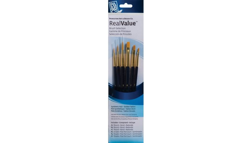 Princeton Real Value Brush Set of 6 - Synthetic Hair - Golden Taklon - Round 1, 3 & 5, Shader 2, 4 & 6 - Short handle