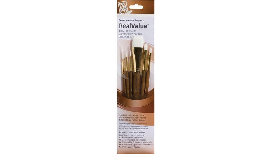 Princeton Real Value Brush Set of 6 - Synthetic Hair - White Taklon - Round 3/0 & 2, Liner 1, Shader 4 & 6, Wash 3/4 - Short handle
