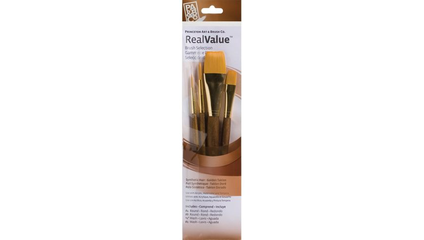 Princeton Real Value Brush Set of 4 - Synthetic Hair - Golden Taklon - Round 4 & 8, Wash 1/2 & 1 - Short handle