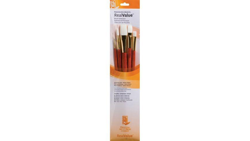 Princeton Real Value Brush Set of 5 - Synthetic Hair - White Taklon -  Round 1 & 6, Bright 6, Filbert 8, Flat 12 - Long Handle