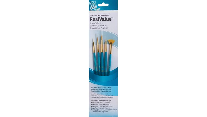 Princeton Real Value Brush Set of 5 - Synthetic Hair - Golden Taklon - Round 3/0 & 3, Liner 20/0, Fan 12/0, Angle Shader 0 - Short handle