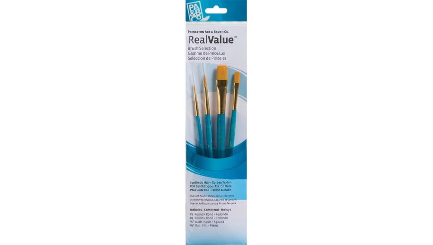 Princeton Real Value Brush Set of 4 - Synthetic Hair - Golden Taklon - Round 1 & 4, Wash 1/4, Flat 1/2 - Short handle