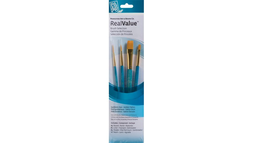 Princeton Real Value Brush Set of 4 - Synthetic Hair - Golden Taklon - Round 3, Liner 1, Shader 4, Wash 1/2 - Short handle