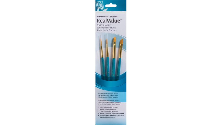 Princeton Real Value Brush Set of 4 - Synthetic Hair - Golden Taklon - Round 3, Liner 2,  Shader 6, Angle Shader 1/4 - Short handle