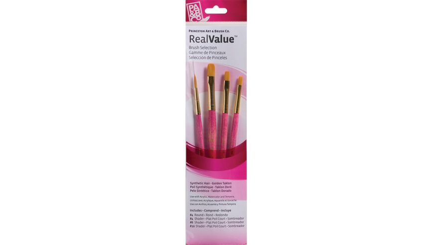 Princeton Real Value Brush Set of 4 - Synthetic Hair - Golden Taklon - Round 4, Shader 4, 6 & 10 - Short handle