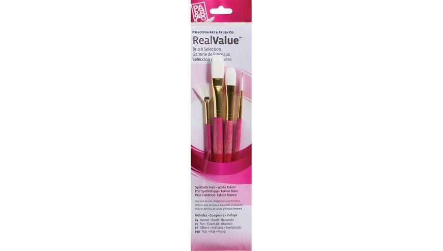 Princeton Real Value Brush Set of 4 - Synthetic Hair - White Taklon - Round 4, Fan 2, Filbert 6, Flat 10 - Short handle