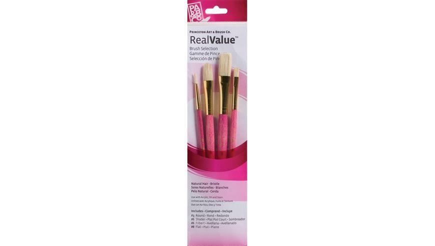 Princeton Real Value Brush Set of 4 - Natural Hair - Bristle - Round 3, Shader 6, Filbert 6, Flat 8 - Short handle