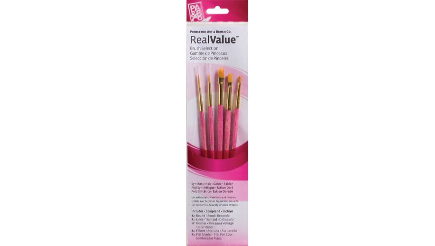 Princeton Real Value Brush Set of 5 - Synthetic Hair - Golden Taklon - Round 2, Liner 1, Grainer 1/4, Filbert 2, Flat Shader 3 - Short handle