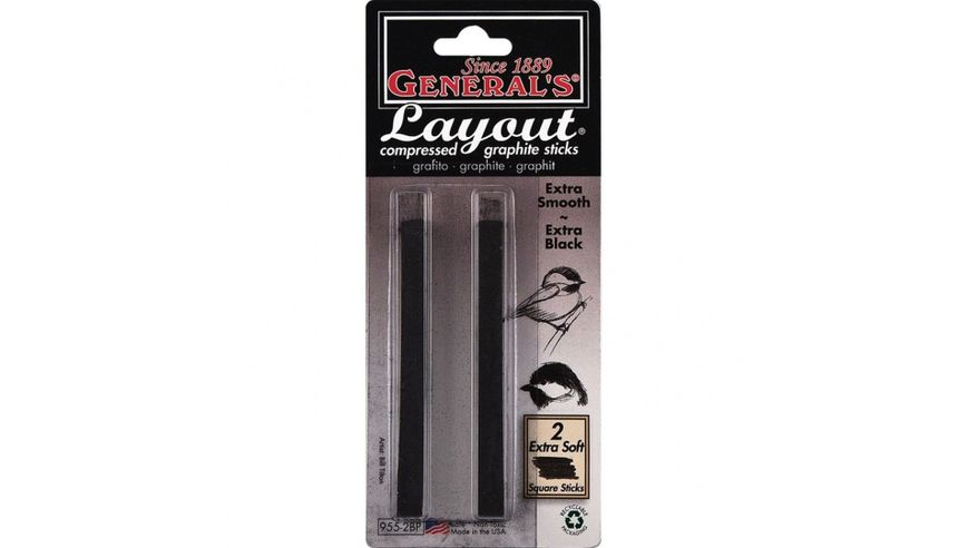 General's Layout Compressed Graphite Stick - Extra Black - Blister Pack of 2