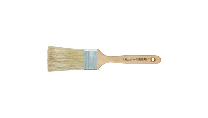 Escoda Natural Chungking Hog Bristle Flat Mural Brush - Series 8155 - Square Edge Extra Long (Pipe Over-Grainer) - Matt Varnished (160 To 175 mm) Handle - Size: 24