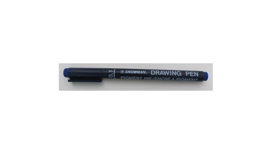 Snowman Drawing, Zentangle & Manga Pens - Blue - 01