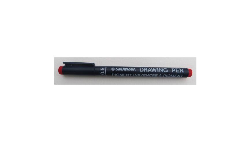 Snowman Drawing, Zentangle & Manga Pens - Red - 05