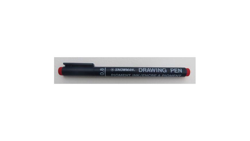 Snowman Drawing, Zentangle & Manga Pens - Red - 08