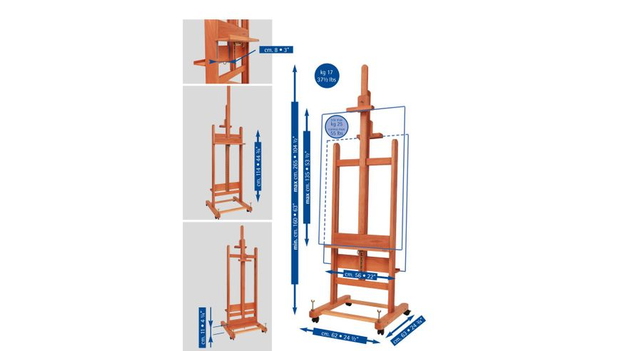 MABEF Beech Wood Double Sided Studio Easel - H Frame