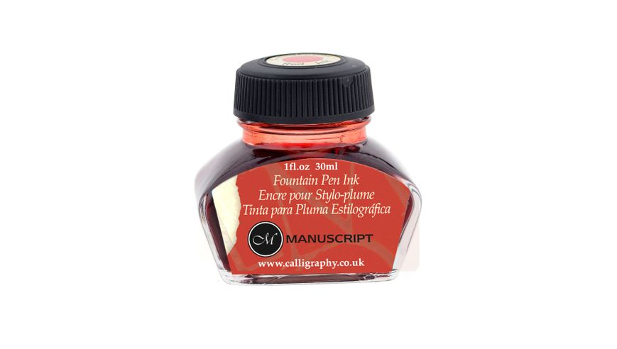 Manuscript Calligraphy Red Fountain Pen Ink - 30 ML Bottle