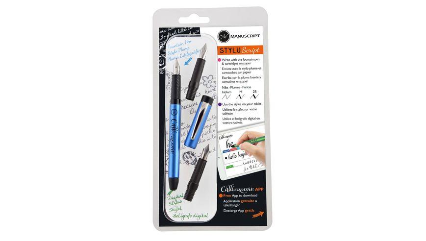 Manuscript Styluscript Fountain Pen - 3 Nib Set - Blue Barrel
