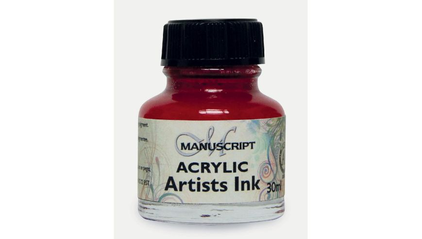 Manuscript Artists Acrylic Dip Pen Ink 30ML - Crimson