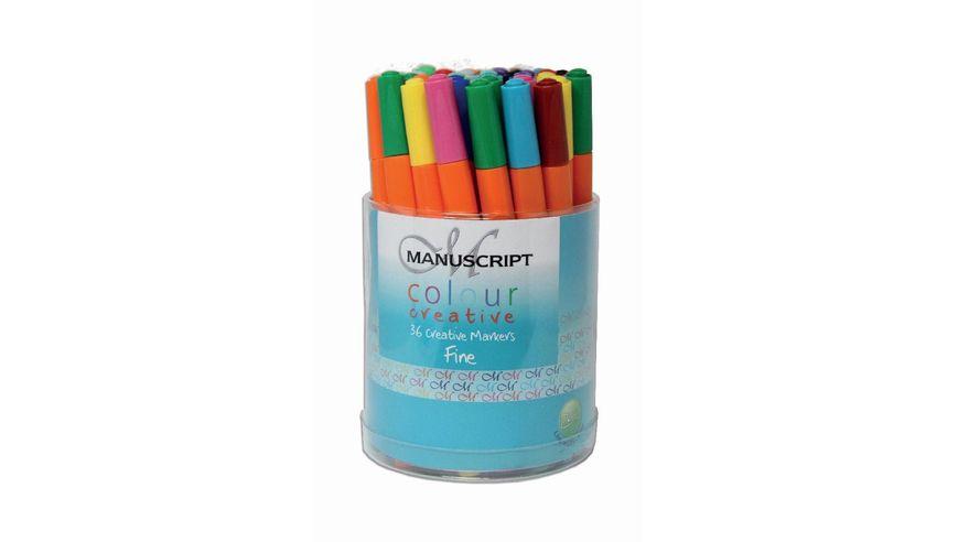 Manuscript Tub Of 36 Colour Creative Markers - Fine