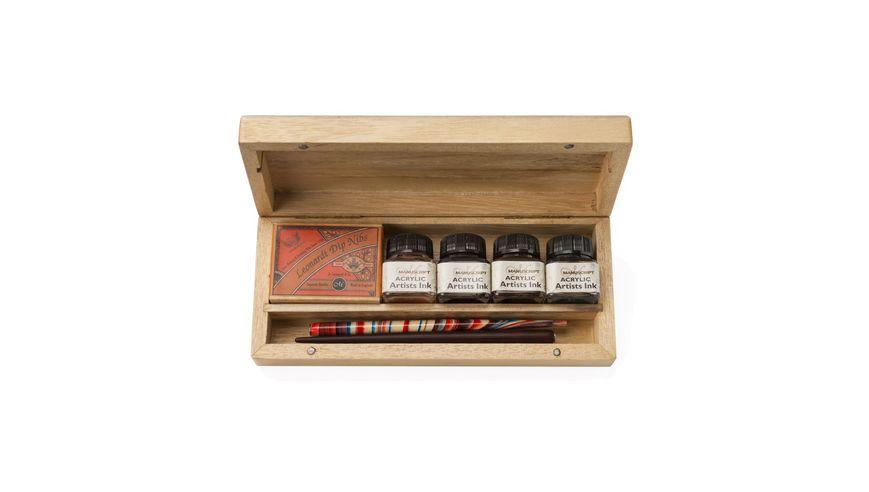 Manuscript Leonardt Calligraphy Artist Dip Pen Set of 18 in Wooden Box