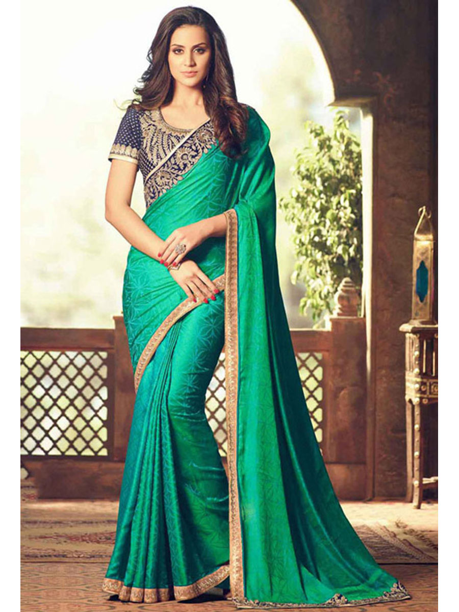1bfe43703 Party Wear Saree In Green Color With Designer Blouse