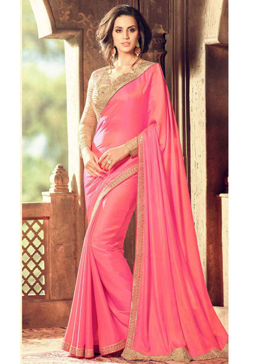 2bb7b3399e2 Pink Color Party Wear Saree With Designer Blouse