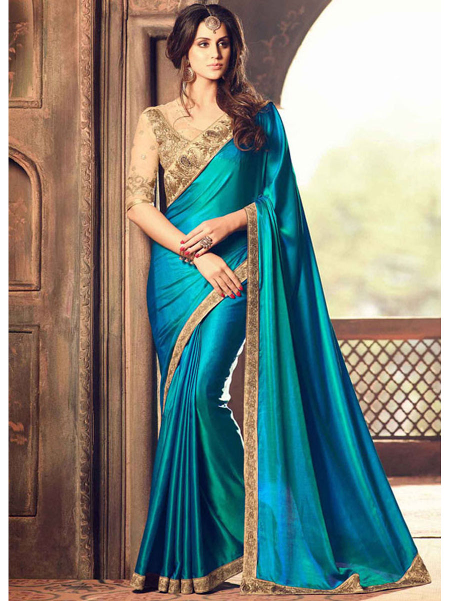 Party Wear Saree In Peacock Blue Color With Designer