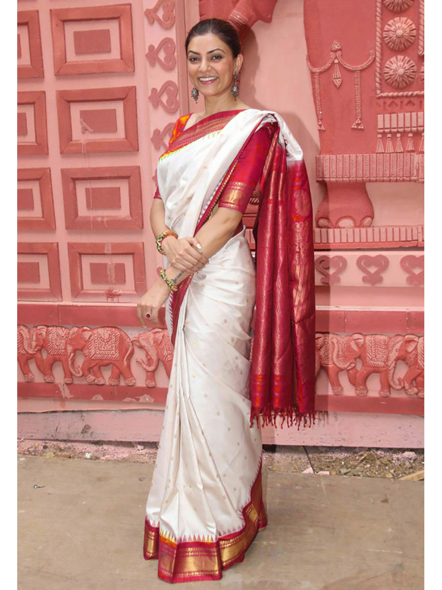 eef52760c5 White Red Pure Kanjeevaram Silk Saree 100 Pure Silk | Deeskanj04 ...
